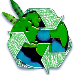Recycle Symbol Holding Earth Crayon - NO TEXT